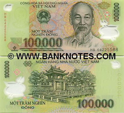 Bank note of 100,000d - polymer