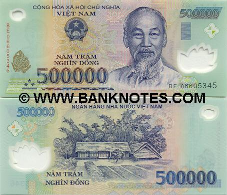 Bank note of 500,000d - polymer