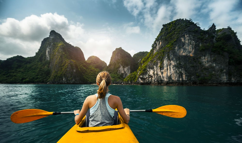 Ha Long Bay Stopped Kayak Rowing Service in Vietnam Adventure Tours