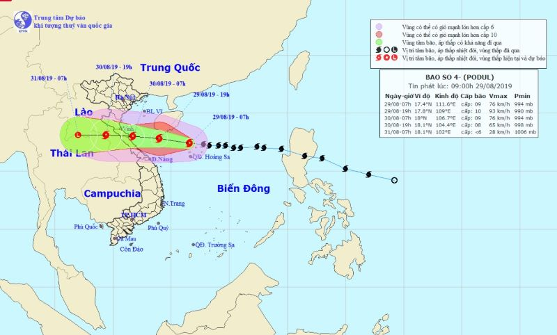 Updating Tropical Storm Podul Approaching Northern And North-Central Vietnam Late This Week