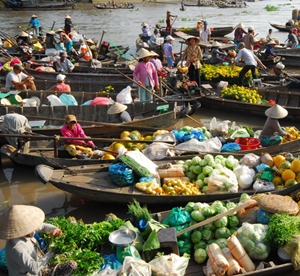 Illustrated photo: Floating market
